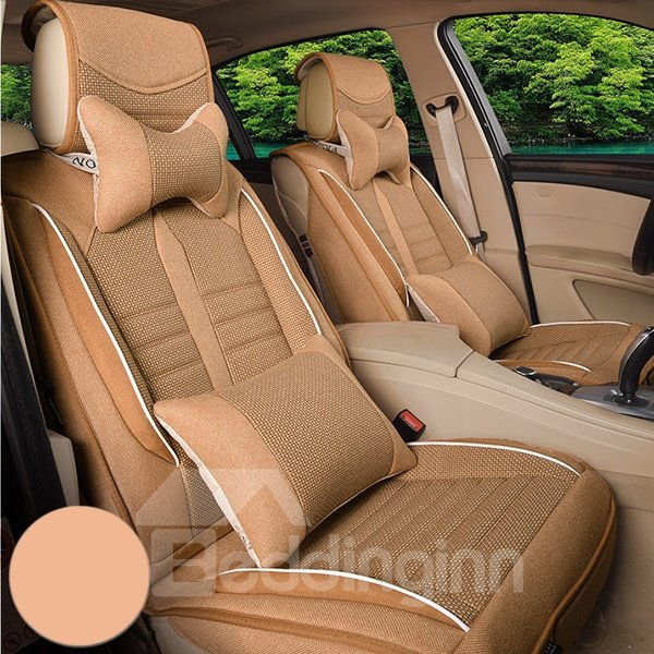 Comfy and Classic Linen Material Single Colored Universal Fit Car Seat Cover