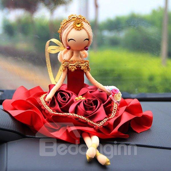Elegant And Exquisite Handmade Bride Doll Creative Car Decor