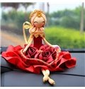 Elegant And Exquisite Handmade Bride Doll Creative Car Decor