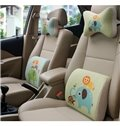 Concise And Funny Linen Material Owl Elephant Lumbar Support Car Pillow