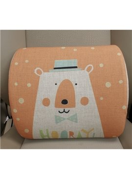 Concise And Styling Linen Material Cute Bear Lumbar Support Car Pillow