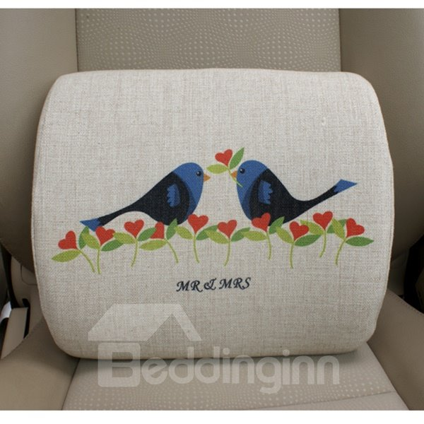 Concise And Creative Linen Material Floral Birds Lumbar Support Car Pillow