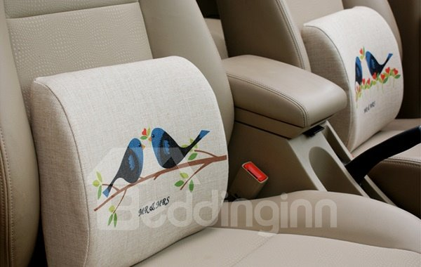 Concise And Creative Linen Material Singing Birds Lumbar Support Car Pillow