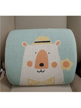Concise And Creative Linen Material Floral Bear Lumbar Support Car Pillow