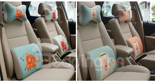 Concise And Funny Linen Material Smiling Elephant Car Neckrest Pillow