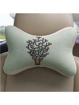 Concise And Styling Linen Material Branch Buckhorn Car Neckrest Pillow