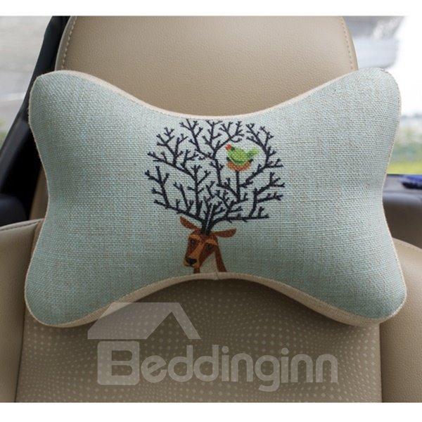 Concise And Styling Linen Material Bird Buckhorn Car Neckrest Pillow