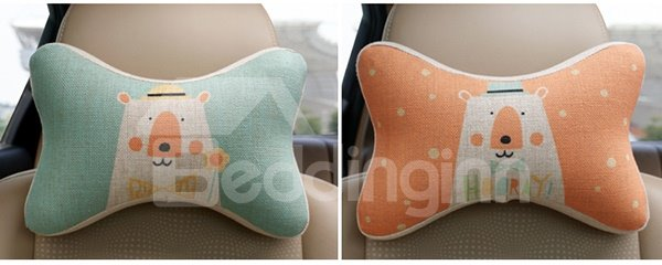 Concise And Styling Linen Material Cute Bear Car Neckrest Pillow
