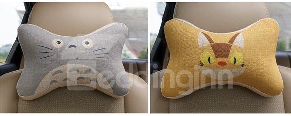 Concise And Creative Linen Material Giggling Kitten Car Neckrest Pillow