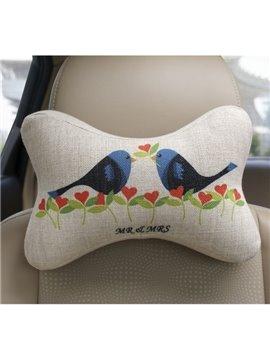 Concise And Creative Linen Material Floral Birds Car Neckrest Pillow