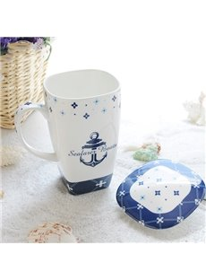 Wonderful Seafaring Theme Ship Anchor Pattern Ceramic Tall Coffee Mug