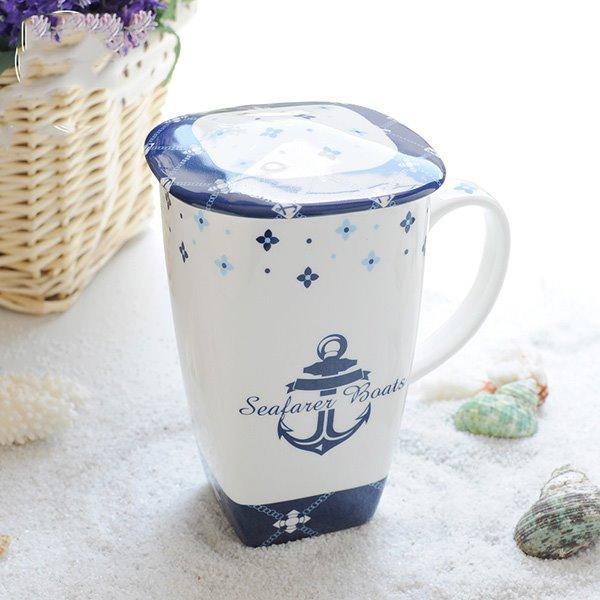 Wonderful Seafaring Theme Ship Anchor Pattern Ceramic Tall Coffee Mug