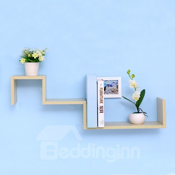 Creative Double S Design Wooden Wall Shelf