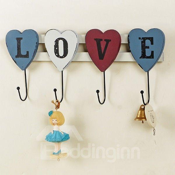 Romantic Love in Capital Wooden 4-Hook Wall Hook