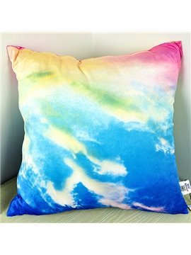 Blue Sky and White Cloud Print Throw Pillow
