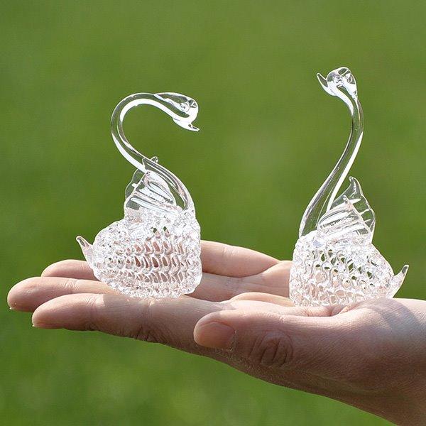 Romantic Glass Graceful Swans Desktop Decoration 1-Pair