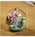 Wonderful DIY Glass Ball Miniature Dollhouse Coastal Villa Desktop Decoration