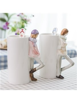 Romantic Boy and Girl 3D Ceramic Coffee Mug Sets 1-Pair