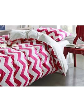 Curved Stripes Pattern Kids Cotton 3-Piece Duvet Cover Sets