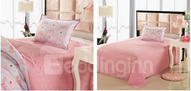 Light Pink Floral Pattern Kids Cotton 3-Piece Duvet Cover Sets