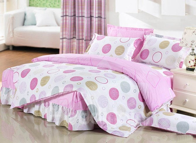 Simple Style Round Circle Pattern Cotton Kids 3-Piece Duvet Cover Sets