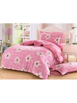 Pink Flower Pattern Purified Cotton Kids 3-Piece Duvet Cover Sets