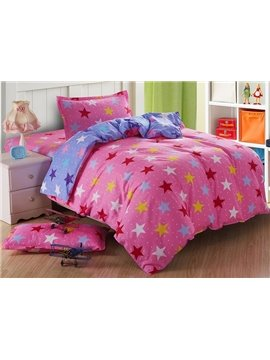 Lively Pink Stars Pattern Cotton Kids 3-Piece Duvet Cover Sets