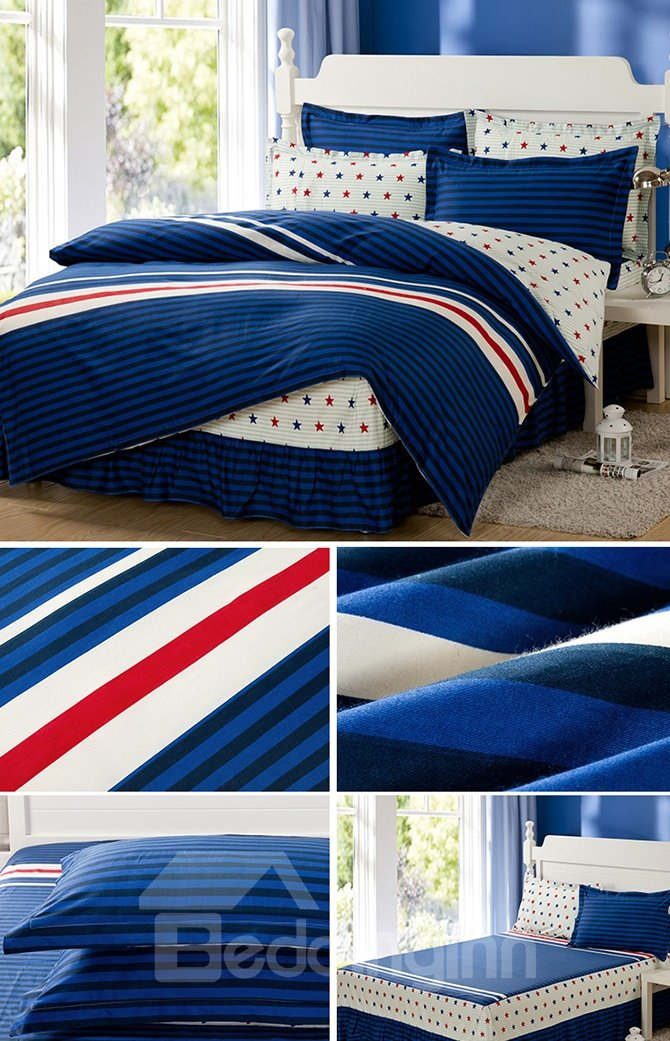 Lovely Stripes and Stars Pattern Cotton Kids 3-Piece Duvet Cover Sets