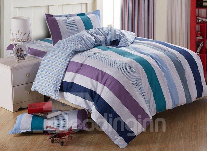 Elegant Stripes Pattern Cotton Kids 3-Piece Duvet Cover Sets