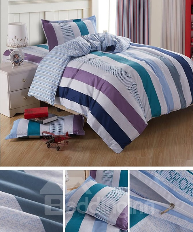 Elegant Stripes Pattern Cotton Kids 3-Piece Duvet Cover Sets