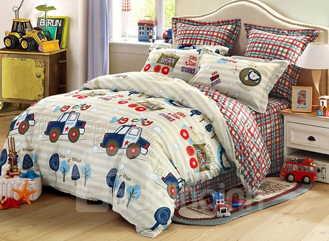 High Quality Adorable Police Cars Pattern Cotton Kids 3 ...