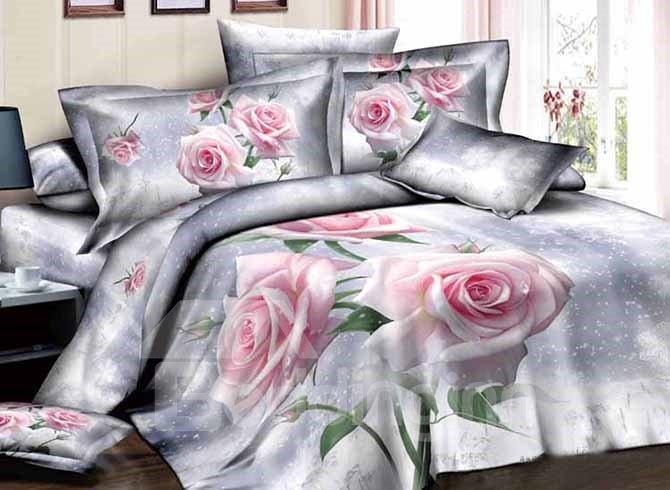Graceful Pretty Light Pink Roses Print 4-Piece Duvet Cover Sets