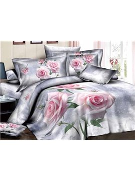 Graceful Pretty Light Pink Roses Print 4-Piece Duvet Cover Sets
