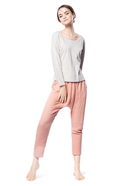 Concise Style Homedress Gray Top and Orange Bottom Pajamas Set