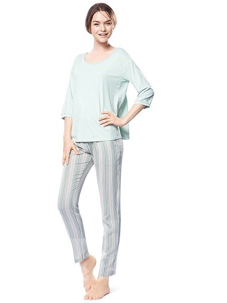 Concise Style Macaroon Light Green Color Cotton and Generated Fiber Pajamas Set