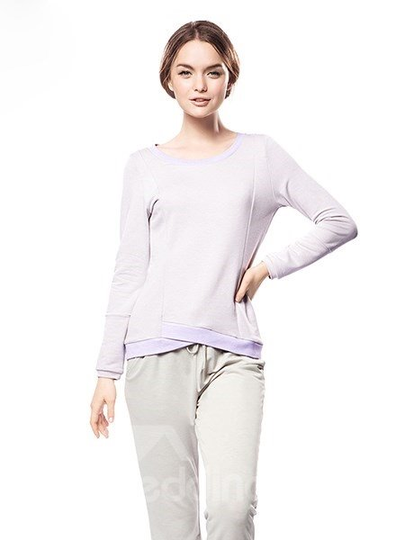 Leisure Comfortable Tender Solid Color Pajamas Set