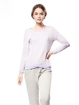 Leisure Comfortable Tender Solid Color Pajamas Set
