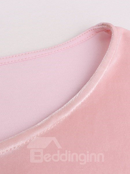 Classical Concise Design Pink Pleuche Pajamas Set