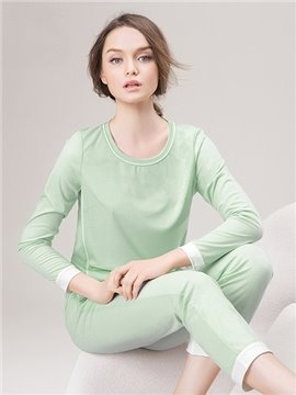 High Quality Solid Color Cotton and Generated Fiber Pajamas Set
