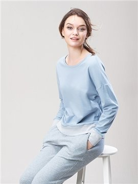 Modern Leisure Style Blue Top and Gray Bottom Pajamas Set