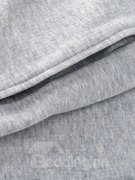 Modern Leisure Style Blue Top and Gray Bottom Pajamas Set