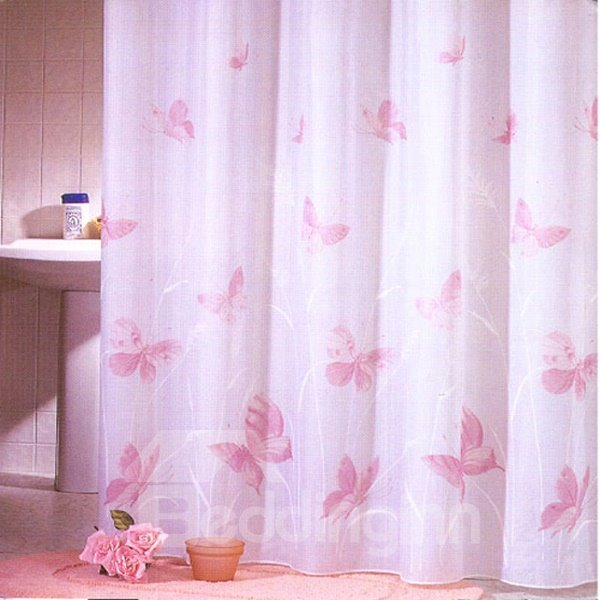 Graceful Beautiful Pink Butterfly Print Shower Curtain
