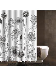 Modern Concise Desgin Dandelion Print Shower Curtain