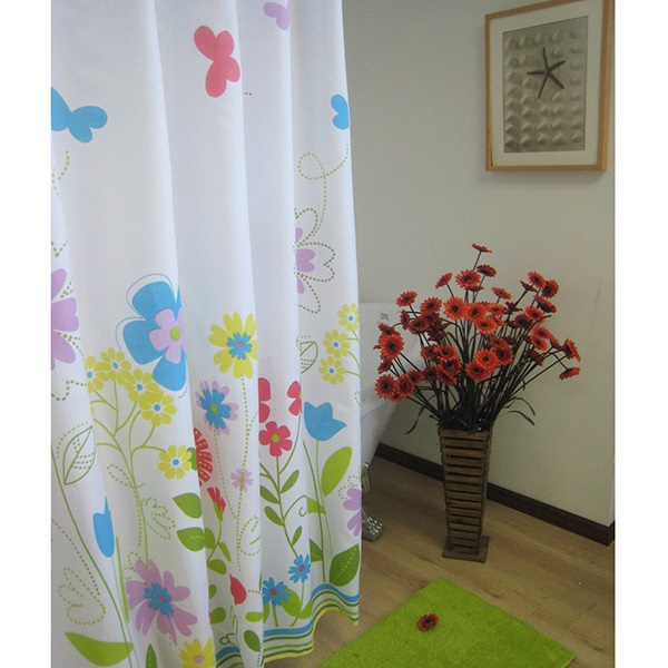 New Arrival Attractive Colorful Flowers Shower Curtain