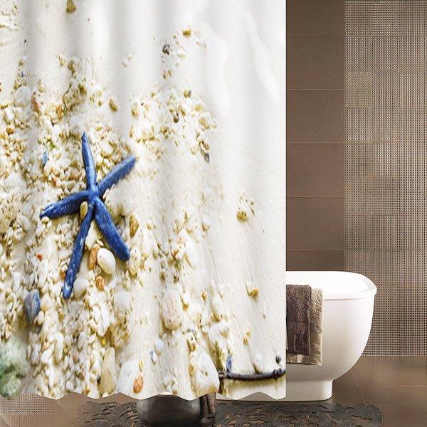 Seaside Scenery Blue Starfish and Seashells Shower Curtain
