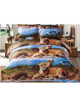 Powerful Animal Print Polyester 4-Piece Duvet Cover Sets