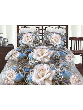 Elegant White Flowers Print Polyester 4 Pieces Duvet Cover Sets