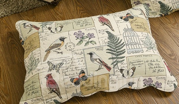 Vintage Pastoral Style Birds Print 3-Piece Bed in a Bag