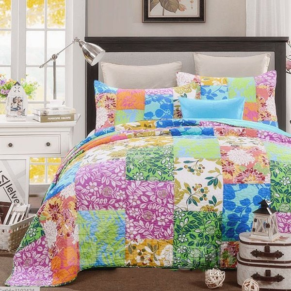 American Country Style Flowers Print Cotton 3-Piece Bed in a Bag