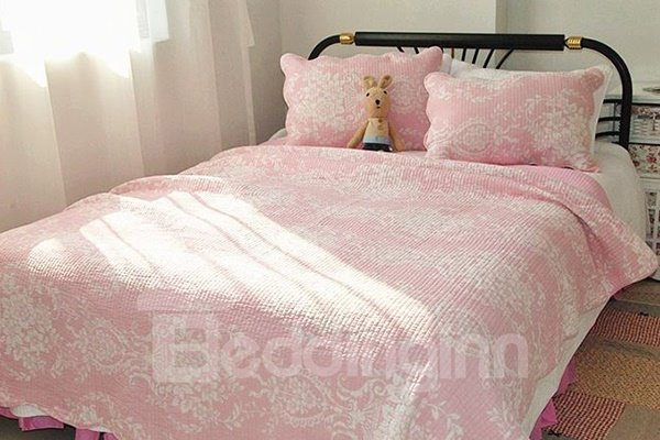 Lovely Flowers Print Pink Cotton 3-Piece Bed in a Bag